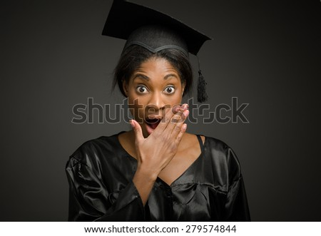 Model isolated covering mouth - stock photo