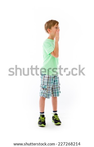 model isolated on plain background calling shouting