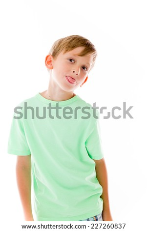 model isolated on plain background face sticking tongue out