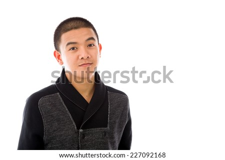 model isolated on plain background happy smiling arms crossed