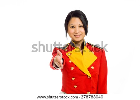 Model isolated on plain background in studio agreement hand shake - stock photo