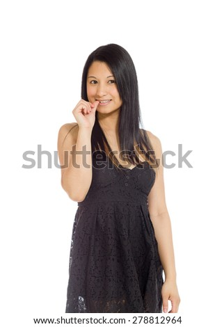 Model isolated on plain background in studio nervous - stock photo