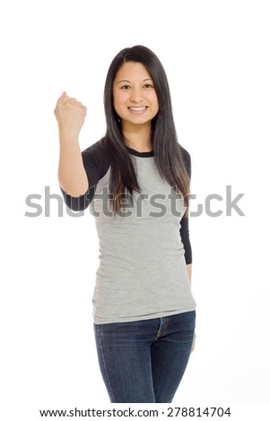 Model isolated on plain background in studio success - stock photo