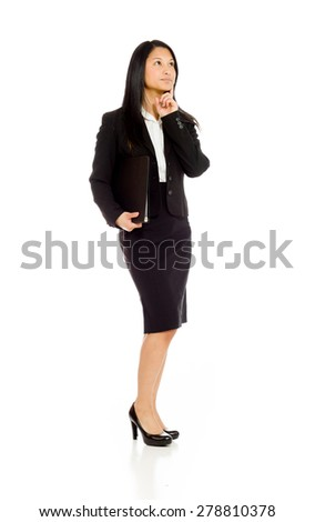 Model isolated on plain background in studio thinking searching
