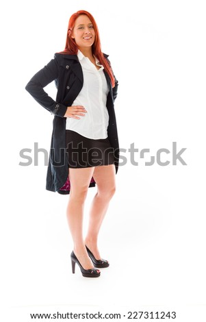 model isolated on plain background pround confident hands on hip
