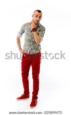 model isolated on plain background thinking