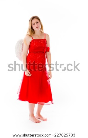 model isolated on plain background upset angry worried