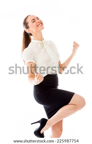 model isolated on plain background victory confident - stock photo