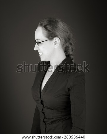 model isolated on white funny laughing - stock photo