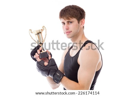 model isolated on white holding a trophy - stock photo