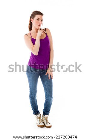 model isolated with finger on lips secret