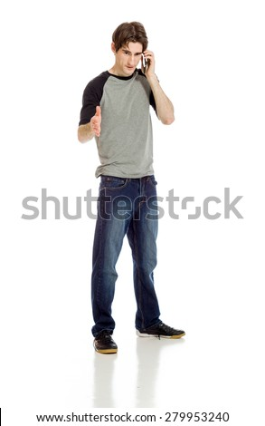 Model isolated with hand shake - stock photo