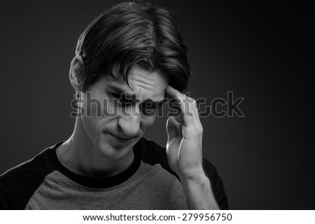 Model isolated with headache