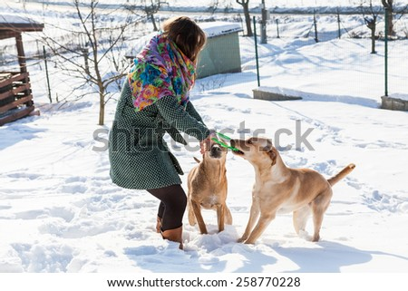 Model Jana playing with her dogs in winter.  - stock photo