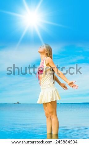 Model Joy Beach and Sea  - stock photo