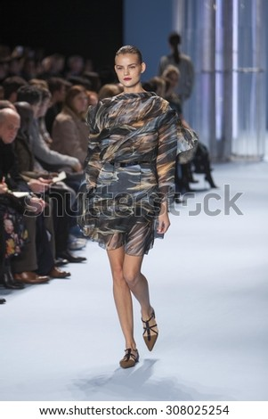 Model Kate Grigorieva walks the runway for Venezuela Designer Carolina Herrera Fashion Show Fall Winter 2015 Collection at Mercedes Benz Fashion Week in the Lincoln Center on February16, 2015