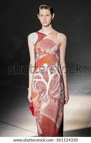 Model Lera Savonenkova walks the runway at the Threeasfour fashion show during New York Fashion Week Spring Summer 2016 at Pier 59 on September 14, 2015 in New York City - stock photo