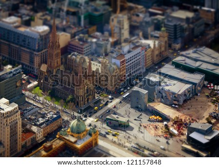 Model Melbourne. Tilt shift photography of the real Melbourne in Victoria, Australia - stock photo