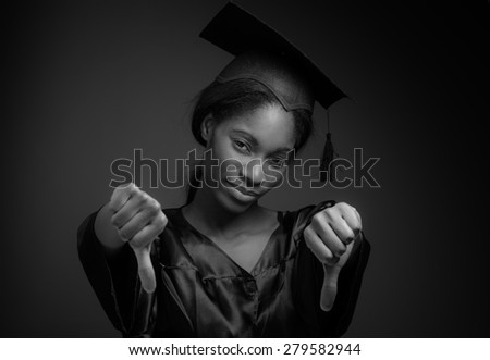 Model negative thumbs down - stock photo