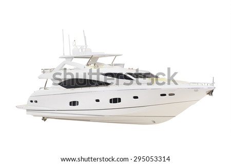 model of a motor boat under the white background - stock photo