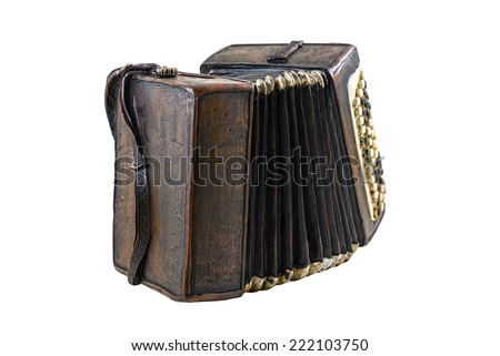 Model of accordion on the white background