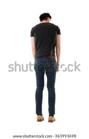 model of asian young man, full length portrait isolated
