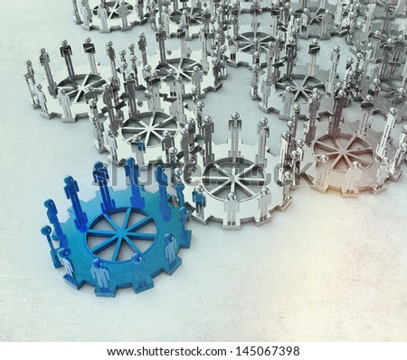 Model of 3d figures on connected cogs as leadership concept with vintage style - stock photo