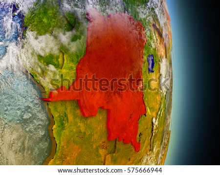 Model of Democratic Republic of Congo from Earth's orbit in space. 3D illustration with highly detailed realistic planet surface and clouds in the atmosphere. Elements of this image furnished by NASA.