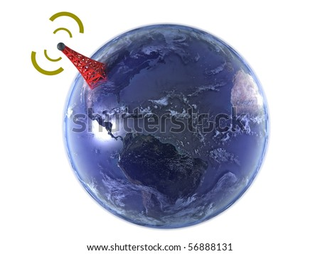 Model of Earth isolated on white background with large wireless antenna
