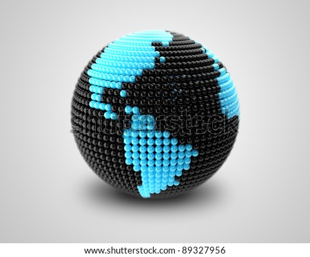 Model of Earth made of  color beads, ball with social chat sign and speech bubbles.  Representing a social network. On a black background - stock photo