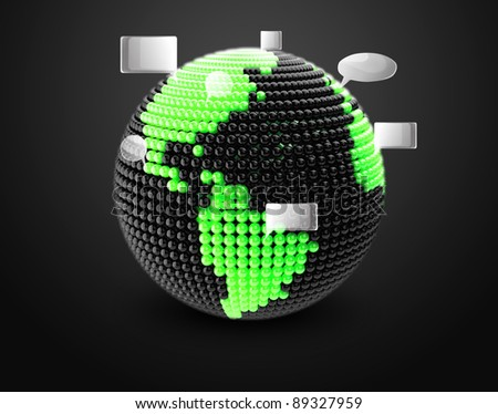 Model of Earth made of  color beads, ball with social chat sign and speech bubbles.  Representing a social network. On a black background