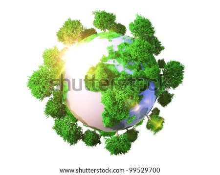 Model of Earth with oversized trees. Miniature planet with sparse leafy tree vegetation. Conceptual symbol of the Earth - stock photo