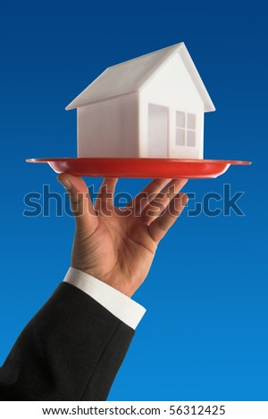 model of house on the tray.real estate concept - stock photo