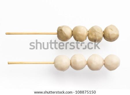 model of meatball on brochette - stock photo