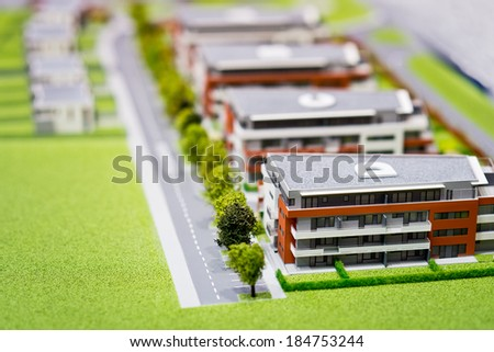 Model of modern block of flats - stock photo