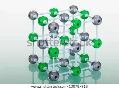 Model of molecular structure on green reflective background - stock photo