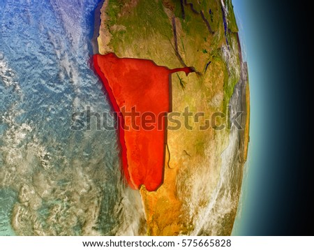 Model of Namibia from Earth's orbit in space. 3D illustration with highly detailed realistic planet surface and clouds in the atmosphere. Elements of this image furnished by NASA.