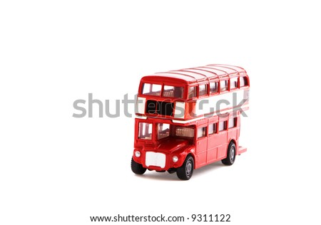 model of old english bus - stock photo
