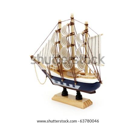 model of sailboat isolated on white - stock photo