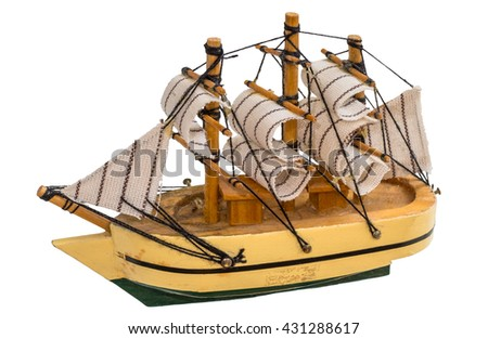 Model of sailing ship isolated on white background.