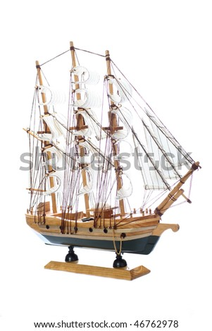 Model of ship at white background