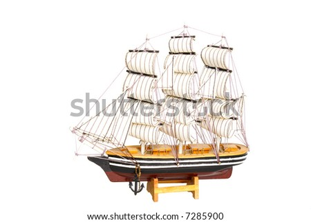 model of ship isolated on white background