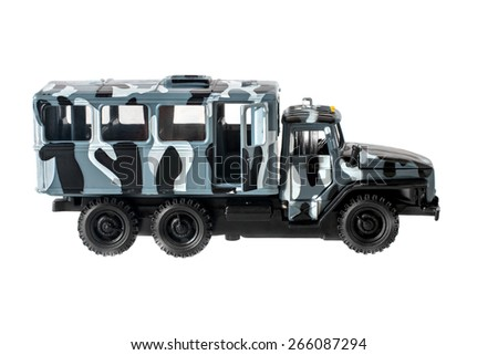 Model of the military car for transportation of soldiers on a white background