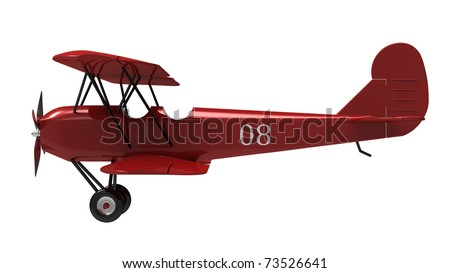 Model of the red plane on a white background - stock photo
