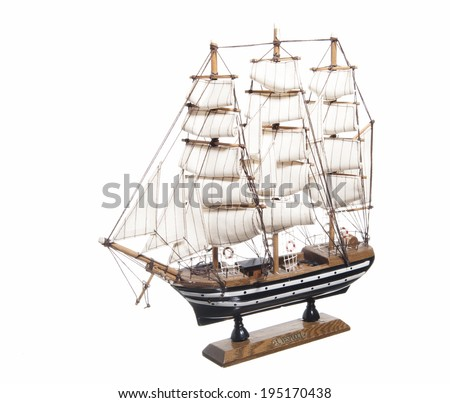 model of the sailing ship Amerigo Vespucci on white background