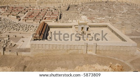 Model of the Second Temple at Israel Museum - stock photo