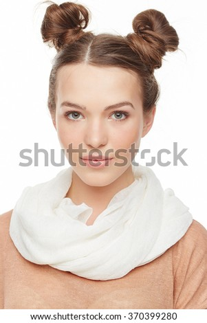 Model posing, face front view - stock photo