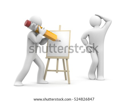 Model posing to artist. 3d illustration