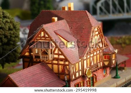 Model railroad miniature layout represent the model miniature concept related idea. - stock photo