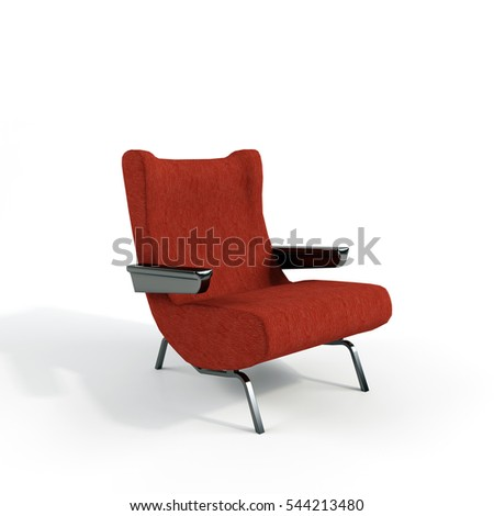 model red chair on white background. 3d illustration